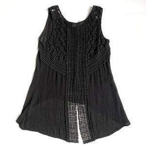 JAPNA Crochet Hi-Low Gauze Cotton Tank Top